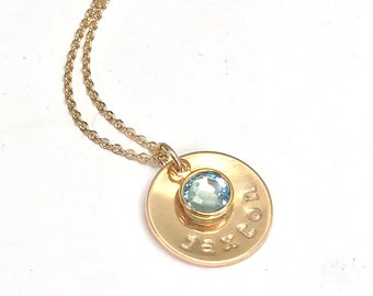 Personalized Disc With Birthstone Charm Mothers Necklace