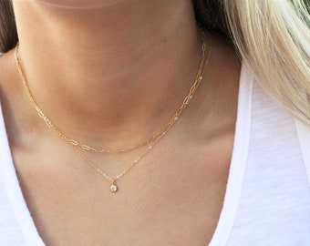 Layered Ultra Dainty Necklace with CZ and Drawn Chain