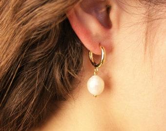 Pearl Drop Gold Hoop Earrings