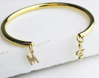Personalized Charm Gold Cuff Bracelet