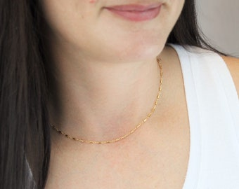 Dainty Gold Necklace - Tube & Link