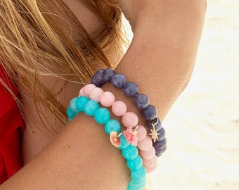 Set of 3 Gemstone Stackable Bracelets - Choose your color and charm