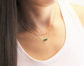Satellite & Birthstone Beaded Bar Layered Necklace Set