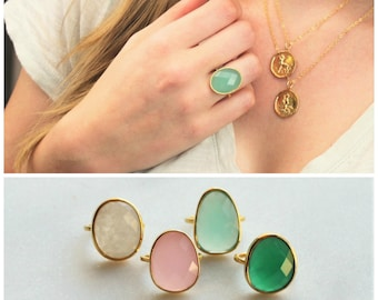 Oval Gemstone Ring