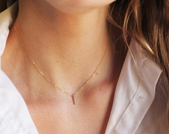 Ultra Tiny CZ Bar Necklace, Gold Bar with CZ's