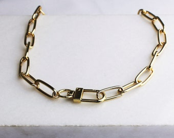 Rectangle Thick Gold Chain Necklace with Fastener - Aura Collection