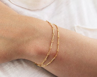 Double Chain Bracelet in Silver or Gold, Choose your chain style