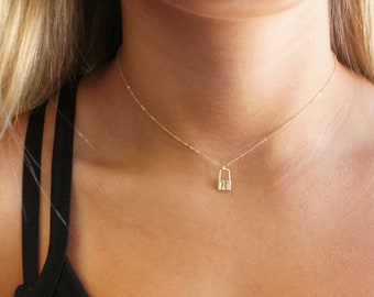 Tiny Lock Necklace, Silver or Gold
