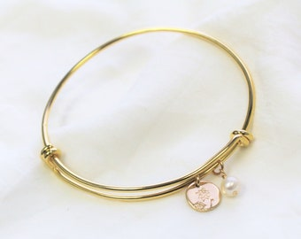 Birth Flower Bangle Bracelet with Birth Flower Charm and Pearl