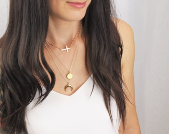 Gold Cross Rosary Necklace