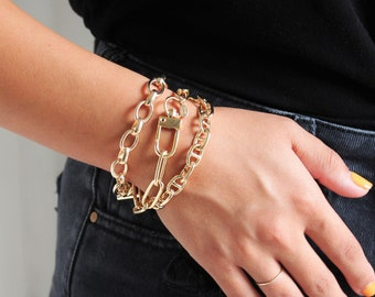 Chunky Chain Bracelet with Toggle - Aura Collection