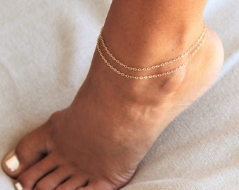 Double Chain Gold Anklet Bracelet - Choose your chain