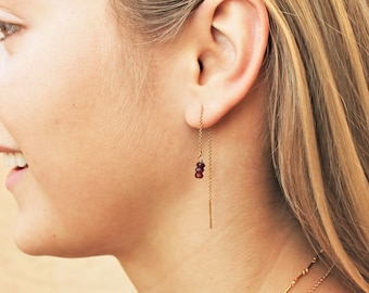 Birthstone Threader Earrings