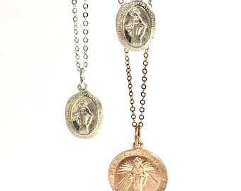 Medal Necklace, Dainty Necklace, Virgin Mary Charm Necklace, Protection Necklace, Religious Jewelry, Gift for Her, Confirmation, Catholic