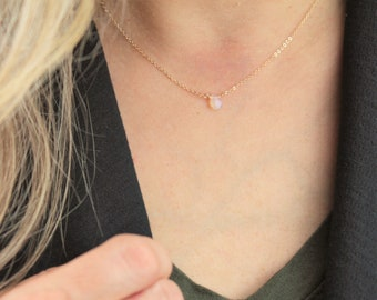 Ultra Dainty Opal Necklace, October Birthday Gift