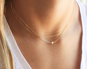 Gold Plain Chain & Ultra Dainty Opal Layered Necklace Set