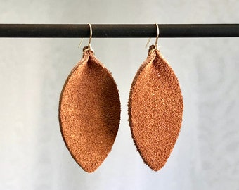 Sophia - Leather Earrings, Leather Leaf