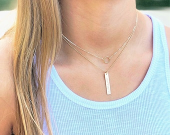 Personalized Bar Necklace, choose your chain style
