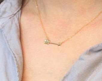 Arrow Necklace, Graduation Gift, Dainty Necklace, Rose, Gold or Silver Sideways Arrow Necklace, Gift for Her - The Silver Wren