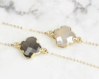 Clover Necklace, Layering Necklace, Silver or Gold Necklace, Necklace for Women, 14kt gold filled, Gift Women, Graduation Gift, Gift for her