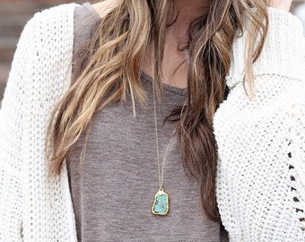 Long Turquoise Necklace in your choice of chain style