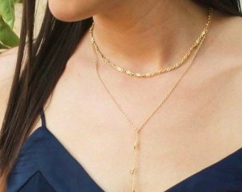 Gold Crystal Bezel Choker