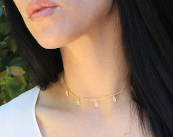Crystal Choker, Gold Necklace, Crystal Necklace, Gold Choker Necklace, Bridesmaids Necklace, Dainty Choker, Layer Jewelry, The Silver Wren