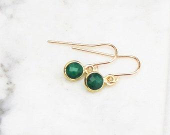 Tess - Tiny Stone Drop Earrings