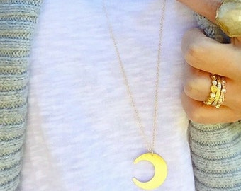 Crescent Moon Necklace, Moon Necklace, Gold Necklace, Long Necklace, Crescent Necklace, Moon Jewelry, Layering Necklace, Boho Jewelry