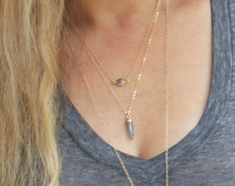 Gem Dot & Spike Layered Necklace Set