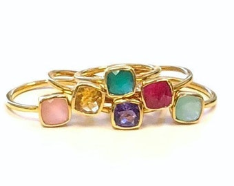 Gold Birthstone Stacking Ring