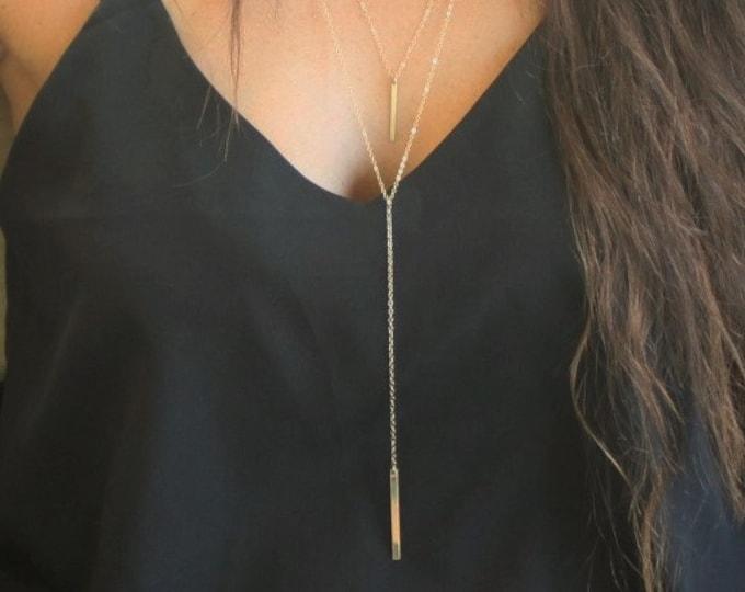 Long Lariat Necklace, Lariat Necklace, Long Necklace, Silver, Rose or Gold Necklace, Y Necklace, Lariat Necklace, Long Bar Drop Necklace