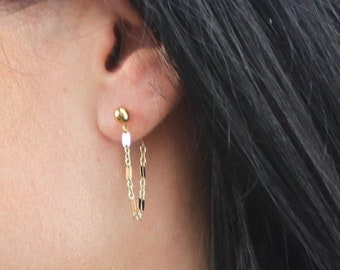 Katie - Gold Earring with Chain Drop