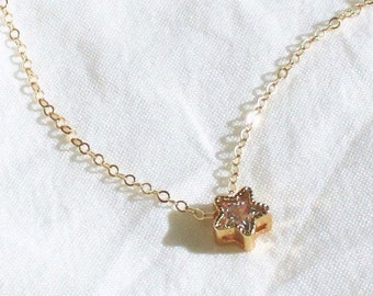 Ultra Tiny Gold Star Necklace DN224
