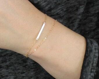 Petite Hammered Bar Bracelet in Gold or Silver