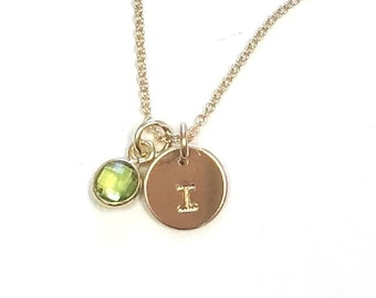 Petite Initial Necklace with Birthstone Charm