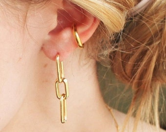 Gold Chain Post Earrings - Aura Collection
