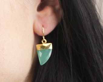 Horn Dangle Earring - Your choice of stone