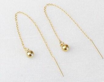 Ball Drop Threader Earrings