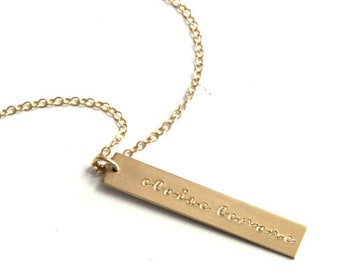 Customized Necklace, Personalized Necklace, Necklaces for Women, Gift Womens, Rose, Silver or Gold, Bar Necklace, Personalized Jewelry, Gift