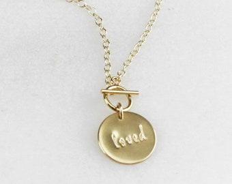 Large Disc Personalized Toggle Necklace