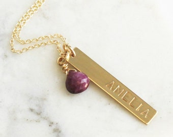 Personalized Vertical Bar Necklace with Briolette Birthstone - 1-3 bars & Gems