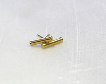 Small Bar Stud Earrings, Silver or Gold