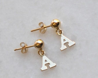 Initial Gold Ball Stud Earrings