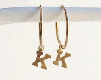 Gold Initial Dangle Hoop Earrings