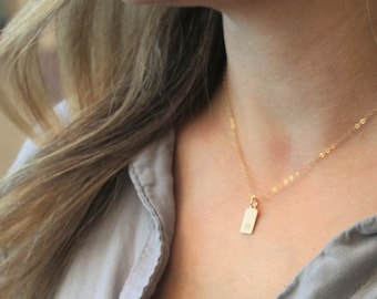 Mini Tag Initial Necklace