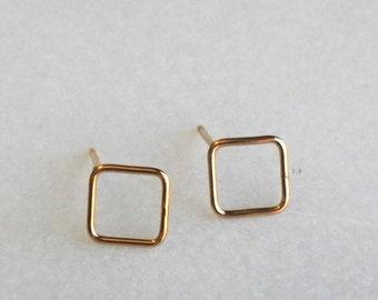 Square Gold Stud Earrings