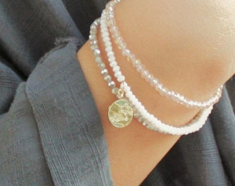 Tiny Crystal Stacking Bracelets with a Zodiac Charm