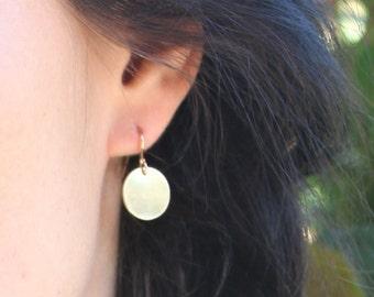 Gift For Her, Disc Earrings, Simple Earrings, Silver, Rose or Gold Earrings, Dangle Earrings, Everyday Earrings, Bridesmaids Gifts