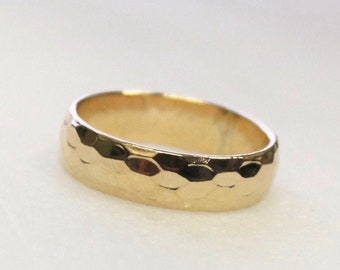 Thick Hammered Gold Band Ring